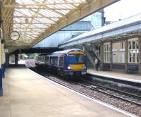 A Glasgow Queen Street - Aberdeen train calls at Arbroath in August 2006.<br><br>[John Furnevel&nbsp;09/08/2006]