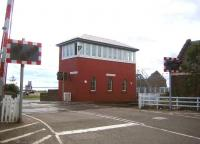 The impressive Carnoustie signal box in August 2006, looking seaward over the level crossing.<br><br>[John Furnevel&nbsp;12/08/2006]