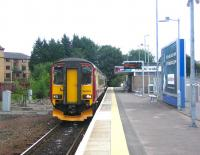 A train for Glasgow Central about to depart from East Kilbride in August 2006.<br><br>[John Furnevel&nbsp;21/08/2006]