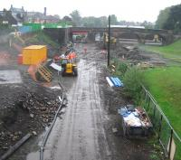 Work underway at Alloa in heavy rain on 5 September 2006. View is west from the old wagonway bridge, looking over the site of the original S&D station (1850-1968). [See image 6473] <br><br>[John Furnevel&nbsp;05/09/2006]