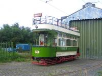 Lanarkshire Tramways Co No. 53 at Summerlee in August 2006 - showing Larkhall on the destination panel.<br><br>[John Furnevel&nbsp;29/08/2006]