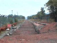 Looking towards Blackgrange, the excavated trackbed, along with a set of new points for a passing loop<br><br>[Brian Forbes&nbsp;/08/2006]