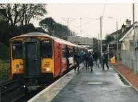 Mid afternoon call at West Kilbride for this Largs train. Note the secondary pupils<br><br>[Brian Forbes&nbsp;//1993]