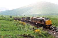 37410 arrives at Bridge of Orchy with the northbound Mossend-Fort William freight in the bucketing rain.<br><br>[Ewan Crawford //1990]