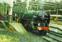 Blue Peter gets ready to depart from Waverley with train for Springburn.<br><br>[John Robin&nbsp;10/10/1993]