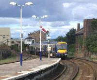 A ScotRail service leaves Arbroath in August 2006 heading for Aberdeen.<br><br>[John Furnevel&nbsp;09/08/2006]