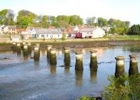 Surviving piers of the railway bridge that carried the line between Leuchars Junction and St Andrews over the River Eden. Seen here in May 2005 looking north west across the estuary back towards Leuchars.<br><br>[John Furnevel&nbsp;19/05/2005]