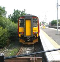 A terminated service from Glasgow Central stands in the bay platform at Barrhead in August 2006.<br><br>[John Furnevel&nbsp;17/08/2006]