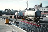 From left, Platform 1, Fuel Bay and fuel tanks. All Gone . Yes its a carpark now.<br><br>[Brian Forbes&nbsp;//1989]