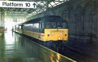 The 1210 to Birmingham about to leave, it will travel via Carstairs.<br><br>[Brian Forbes&nbsp;//1995]