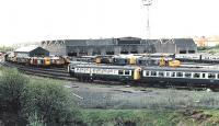 Viewed from the north east in 1984. The near roads were filled with withdrawn DMUs<br><br>[Brian Forbes&nbsp;//1984]