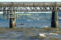 Renovation work in progress on the Tay Bridge - scaffolding and safety boat in evidence.<br><br>[Adrian Coward&nbsp;19/09/2006]