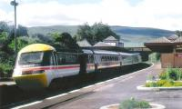 <i>Highland Chieftain</i> southbound through Gleneagles in 1989 in BR InterCity colours and logo.<br><br>[Brian Forbes&nbsp;/05/1989]