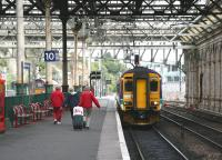 Activities at Waverley in September 2006 result in regular departure platform shuffles. Here the 1424 to Glasgow Central via Shotts waits to depart from platform 10 at the east end of the station.<br><br>[John Furnevel&nbsp;08/09/2006]