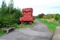 At the point where the Stanhope and Tyne Railway crossed the Lanchester Railway this hot metal cauldron is a memento of the closed Consett Steelworks. The fortunes of the railways in the area were closely tied to the steelworks.<br><br>[Ewan Crawford&nbsp;26/09/2006]