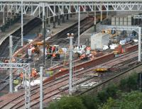 Progress on the Waverley east end platform extensions on 1 October 2006. Work continues on platform 1 and is now also underway on the bay platform beyond.<br><br>[John Furnevel&nbsp;01/10/2006]