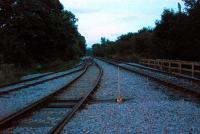 The point where the railway depot at Wolsingham Steelworks joins the line. View looks east from the level crossing.<br><br>[Ewan Crawford&nbsp;26/09/2006]