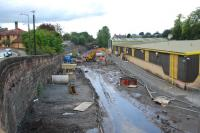 Looking west at the site of the old Alloa station. Nearly as soggy as Larkhall was.<br><br>[Ewan Crawford&nbsp;03/10/2006]