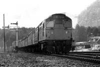27033 takes the 0845 hrs ex Edinburgh service north out of Aviemore on 16 June 1974.<br><br>[John McIntyre&nbsp;16/06/1974]