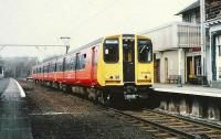 Last week of the old Balloch Central Station.<BR/> New SPTE livery for 314.208.<br><br>[Brian Forbes&nbsp;/11/1988]