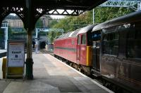 Looking west along platform 19 at Waverley on 26 September 2012, with the 'Royal Scotsman' boarding behind West Coast Railways 57601.<br><br>[John Furnevel&nbsp;26/09/2006]
