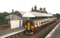 Noon train for Carlisle leaving Annan in October 2006.<br><br>[John Furnevel&nbsp;12/10/2006]