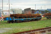 A Hunslet locomotive shunts some of the last rails made in Workington at the Workington Docks in September 2006.<br><br>[Ewan Crawford&nbsp;27/09/2006]