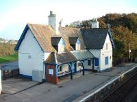 View from the footbridge towards the disused station building on the southbound platform at Helmsdale on 16 October 2006. A fine old building going to waste. <br><br>[John Gray&nbsp;16/10/2006]
