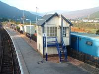 The redundant signal box at Helmsdale. Network Rails portacabins, etc. behind it. 16/10/06<br><br>[John Gray&nbsp;16/10/2006]