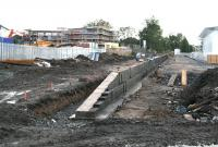 Looking east over the beginnings of the new Alloa platform on 8 October 2006, with accomodation for the next generation of rail users now well advanced to the north of the site.<br><br>[John Furnevel&nbsp;08/10/2006]