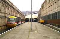 Waverley in July 1991 with an HST and a class 86 locomotive waiting to depart.<br><br>[John McIntyre&nbsp;06/07/1991]