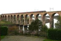 A London - Edinburgh train rumbles over the Royal Border Bridge in October 2006 as it slows for the Berwick stop.<br><br>[John Furnevel&nbsp;24/10/2006]