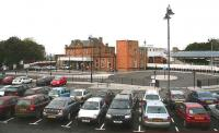 Car park and approach to Berwick station one year on, with new road and pedestrian access completed, bus turning circle installed, taxi ranks and reorganised car parking in place. Scene outside the station in October 2006. [See image 4771]<br><br>[John Furnevel&nbsp;24/10/2006]