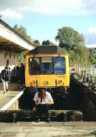 DMU showing Skegness (!) on the destination blind stands in the Looe branch platform at Liskeard in the early 1990s, with the guard having a break between duties.<br><br>[Ian Dinmore&nbsp;//]