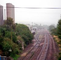Burngullow looking east. The right hand line is for Penzance and the left for various works. The right line has subsequently been doubled through to Probus.<br><br>[Ewan Crawford&nbsp;/09/2002]