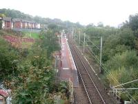 Whinhill station, looking west towards Drumfrocher and Branchton. This station is typical of the stations that have either been newly opened or re-opened by SPTA and its successor, the SPT.<br><br>[Graham Morgan&nbsp;25/10/2006]