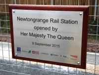 Plaque commemorating the official opening of the new Borders Railway station at Newtongrange on 9 September 2015. [See image 52489]<br><br>[John Furnevel&nbsp;29/02/2016]