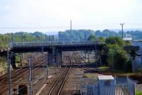 The former Waverley route crossing over the WCML at Kingmoor. Now used for Carlisle Warehousing by Harker. The control cabin to the right was for the Kingmoor Marshalling Yard.<br><br>[Ewan Crawford&nbsp;27/09/2006]