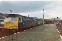Clansman with loco 47141 awaits station duties at Stirling, before heading south.<br><br>[Brian Forbes&nbsp;//1983]