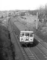 Helensburgh bound AM3 emu no.074 approaches Cardross in March 1974.<br><br>[John McIntyre&nbsp;/03/1974]
