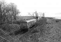 Westbound AM3 Unit No.074 approaches Ferry Road Bridge, Cardross in 1974 with the River Clyde on the right.<br><br>[John McIntyre&nbsp;/03/1974]