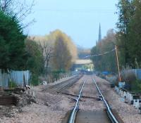 Looking east at the new Cambus loop with Alloa as the backdrop. This is the extent of the tracklaying east from Stirling.<br><br>[Ewan Crawford&nbsp;12/11/2006]