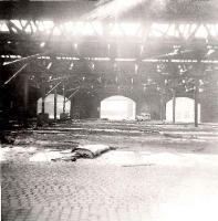 Interior of the goods shed at Greenock Lynedoch in 1967. On the left can be seen some of the cranes that were used to unload wagons. By this time all the track had been lifted and the line disconnected at Cartsburn Junction. The site is now an industrial estate.<br><br>[John Gray&nbsp;//1967]