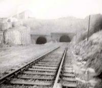 The end of the line from Princes Pier in 1967. The tunnel on the right is to Kilmacolm. The line was eventually skewed to the left and joined to the Wemyss Bay line on the other side of the tunnel. Cartsburn Junction signal box was at the left of the picture.<br><br>[John Gray&nbsp;//1967]