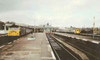 Busy period at Stirling in 1985. Trains face south.<br><br>[Brian Forbes&nbsp;//1985]