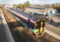 A ScotRail 158 bound for Aberdeen stands at Dyce on 6 November 2006.<br><br>[John Furnevel&nbsp;06/11/2006]