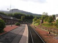 What a backdrop... Crianlarich looking South. Old locomotive shed on the left.<br><br>[Paul D Kerr&nbsp;04/09/2006]