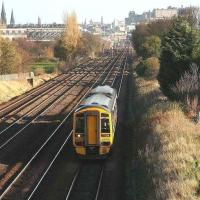A Bathgate train westbound from Haymarket in November 2006 approaching Saughton Junction.<br><br>[John Furnevel&nbsp;02/11/2006]