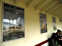 The waiting room on the Edinburgh bound platform at Drem, featuring the colourful new posters installed on 16 August 2011.<br><br>[John Yellowlees&nbsp;16/08/2011]