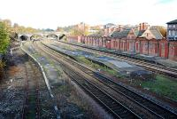 The closed station at Rotherham Masborough. The three lines to the left and centre run to Sheffield and the two on the right run by the old North Midland Railway mainline to Derby by Barrow Hill.<br><br>[Ewan Crawford&nbsp;21/11/2006]
